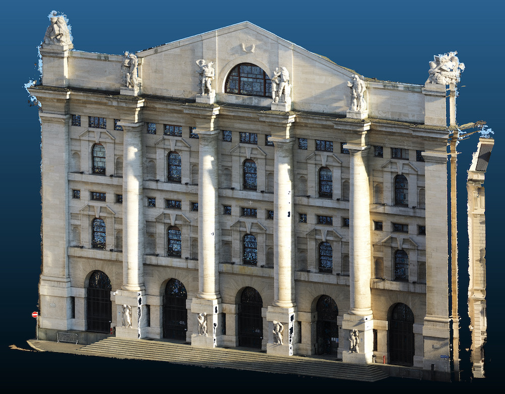Rilievo Architettonico con Drone della Facciata di Palazzo Mezzanotte (Borsa di Milano)